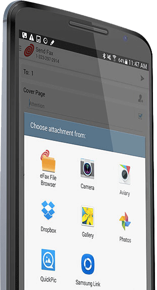 Fax documents from Google Drive, iCloud, Box and Dropbox with the eFax® app for Android.
